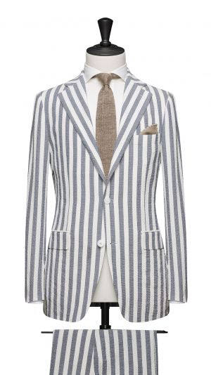 White and Blue Stripe Suit