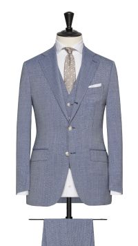 Light Blue Wool Plain Suit