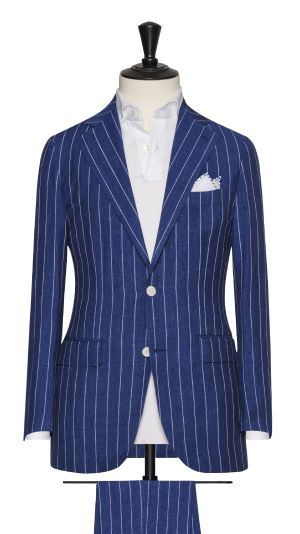Blue Wool, Silk and Linen Striped Suit