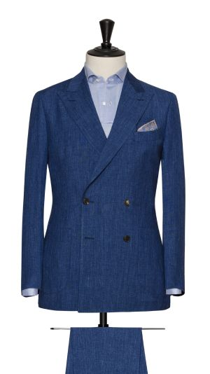 Blue Linen, Wool and Silk Plain Suit