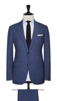 Blue Wool Fine Striped Suit