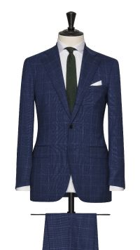 Blue Wool Check Stretch Suit