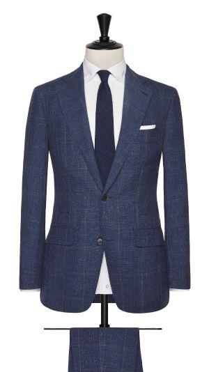 Blue Linen, Wool and Silk with a Brown Check Suit