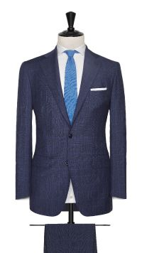 Blue Wool and Mohair Check Suit