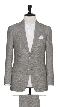 Grey and Blue Linen, Wool and Silk Check Suit