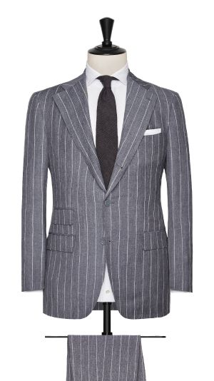 Grey Linen, Wool and Silk Striped Suit
