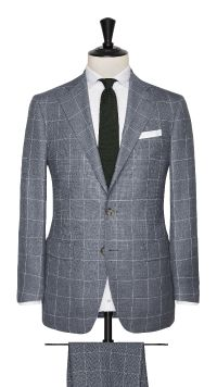 Grey and White Wool Check Suit