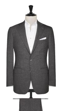 Grey Wool Plain Stretch Suit