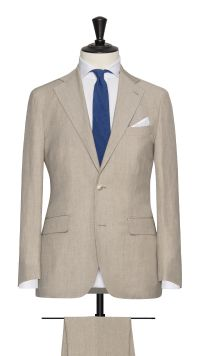 Cream Linen, Wool and Silk Plain Suit