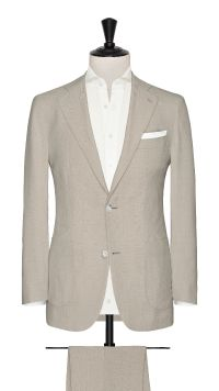 Cream Wool Plain Suit