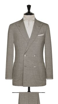 Taupe Wool Plain Stretch Suit