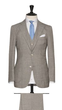 Beige Wool Plain Suit