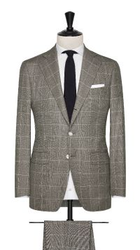 Beige and White Wool Check Suit