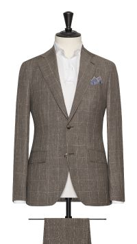 Brown Linen, Wool and Silk Check Suit
