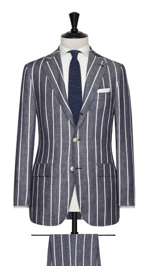 Blue and White Linen Striped Suit