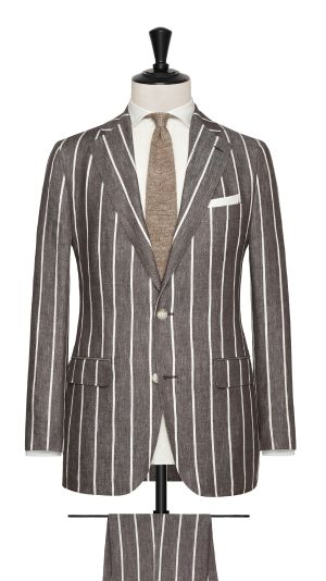 Brown and White Linen Striped Suit