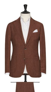 Red Linen, Wool and Silk Plain Suit