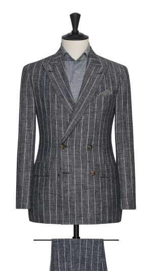 Blue and Grey Striped Suit