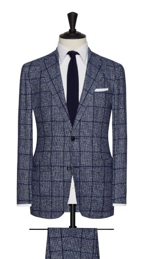 Blue and White Boucle Houndstooth Check Suit