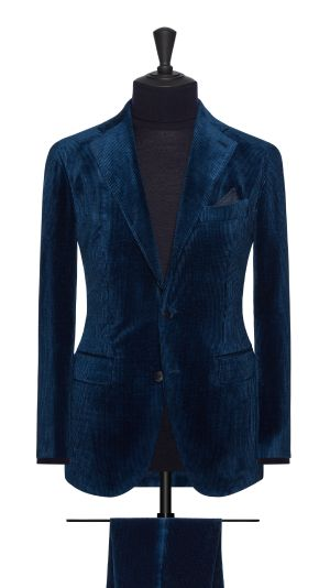 Blue and Silk Curduroy Suit