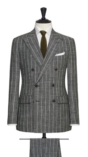 Green and White Striped Suit