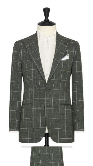 Juniper Green Suit with White and Blue Windowpane Check