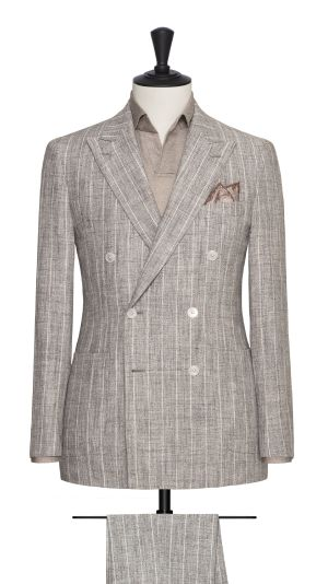 Beige and White Striped Suit