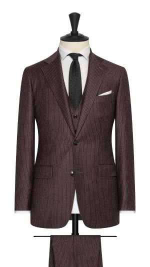 Raisin and White Pinstripe Suit