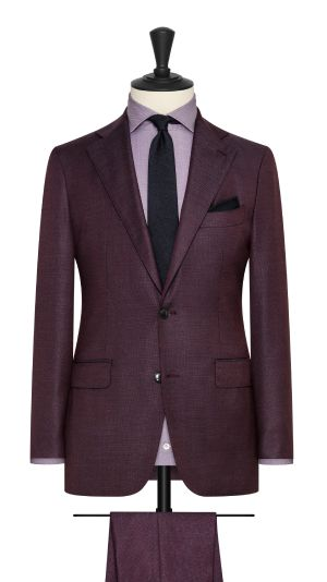 Burgundy and Blue Basketweave Suit