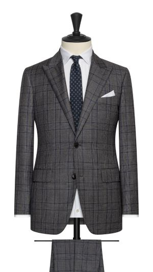 Grey, Blue and Black Check Suit