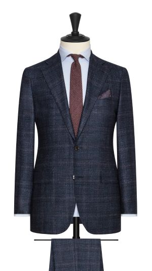 Blue and Burgundy Check Suit