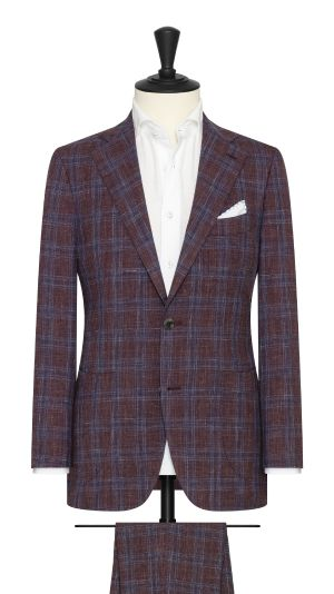 Burgundy Melange Suit with Blue Check