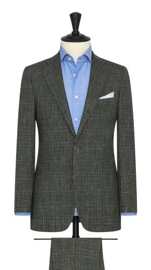 Moss Green Suit WIth Blue CHeck