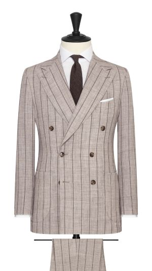 Neutral Beige and Brown Stripe Summertime Suit