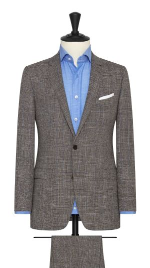 Brown White and Blue Glencheck Summertime Suit