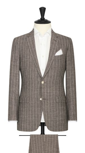 Brown Linen Wool Silk Blend Suit with Pinstripes