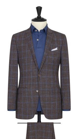 Brown and Blue Windowpane Suit