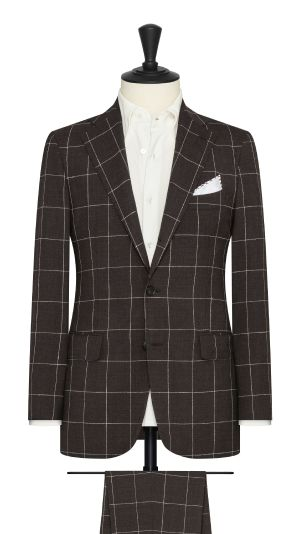Chocolate Brown Windowpane S130 Suit