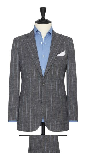 Grey and Blue Pinstripe Suit