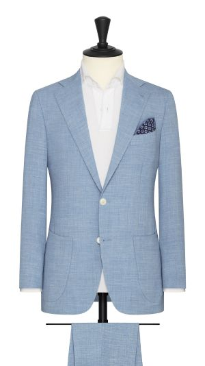 Light Blue Melange Linen Stretch Suit