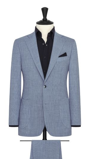 Denim Blue and White Pinstripe Suit