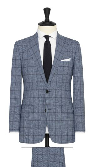 Light Blue Melange Glencheck Suit