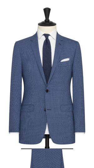 Blue Black Melnge Micro Houndstooth Suit