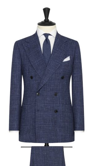 Navy Melange Suit With Subtle Check
