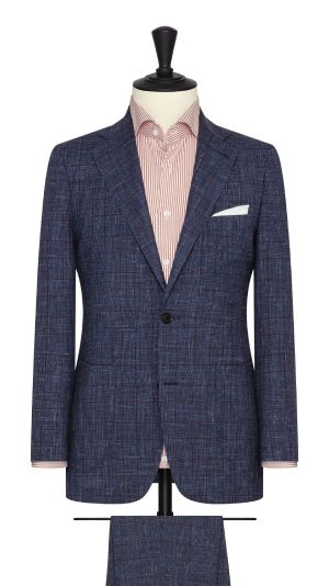Navy Melange Suit With Red Check
