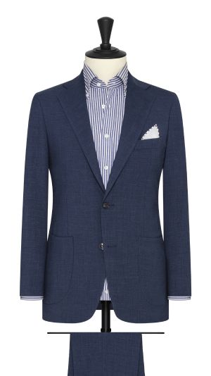 Dark Petrol Blue Stretch Linen Suit