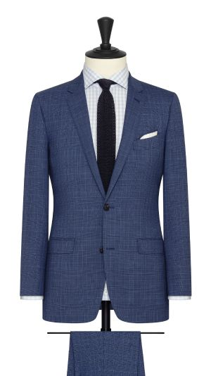 Blue Suit with Fine Black Glencheck
