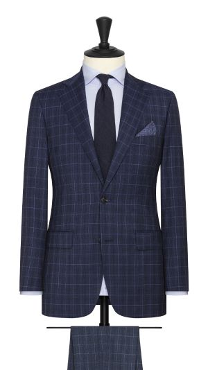 Navy Black and Light Blue Check Suit