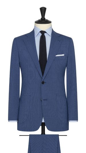 Mid Blue Micro Houndstooth Suit
