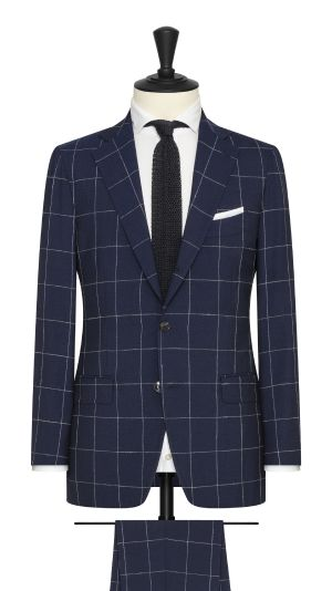 Navy and White Windopane Summer Suit